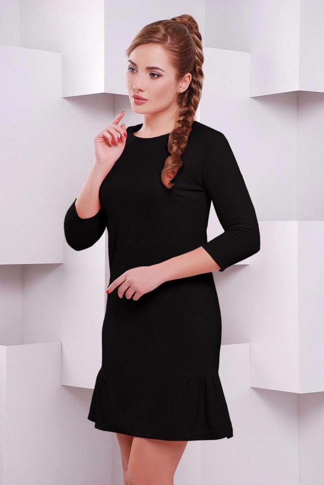 """Черное платье колокольчик """"Рюша"""" PL-1395G"""