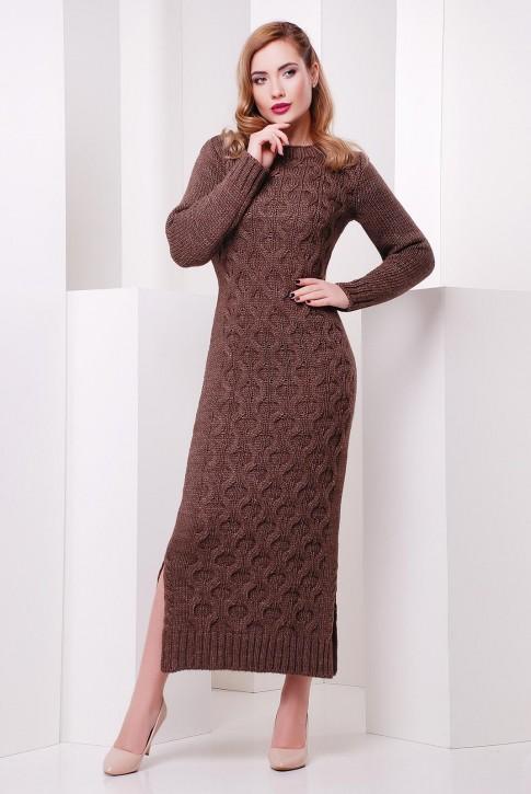 """Длинное платье шоколадного цвета """"SOTI"""" VPS0004"""