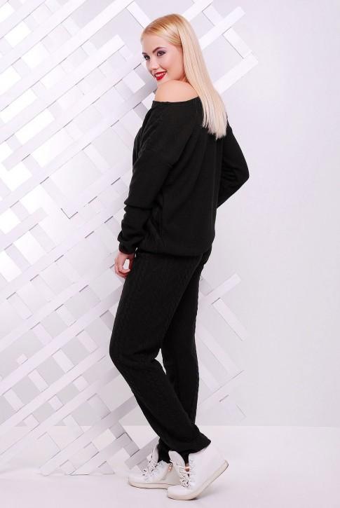 Теплый вязаный женский костюм LILI, черного цвета