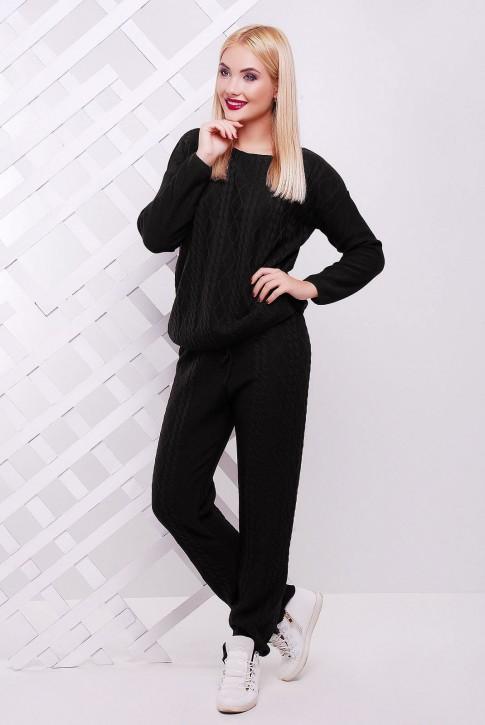 Теплый вязаный женский костюм LILI, черного цвета (фото 2)