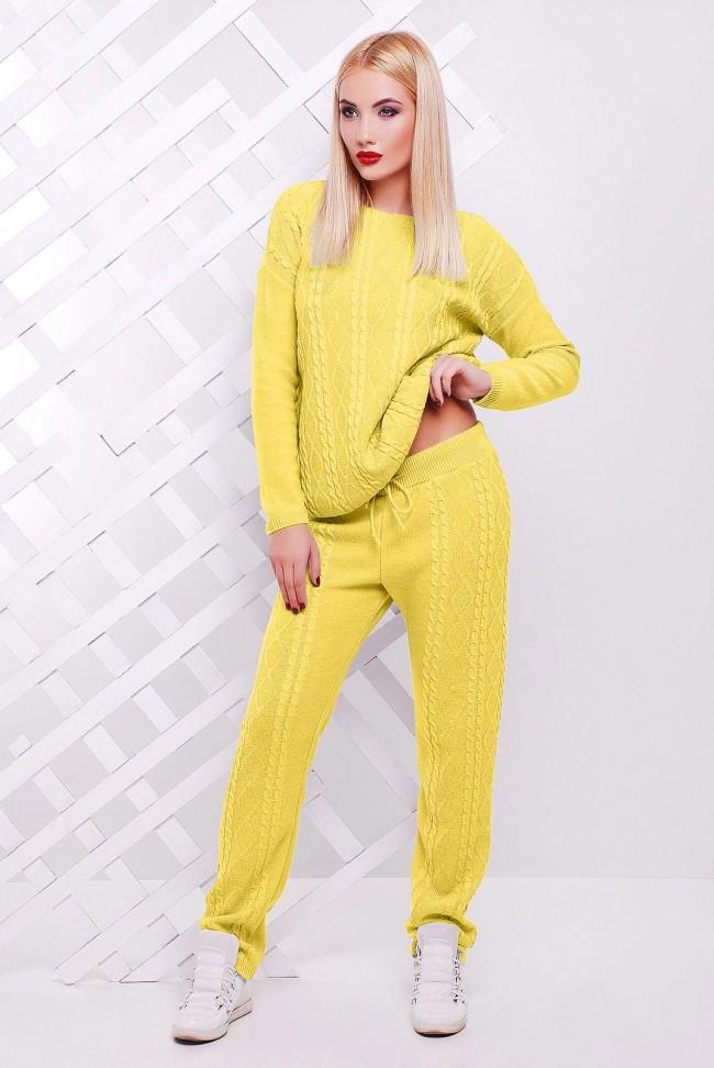 Теплый вязаный женский костюм LILI, желтого цвета