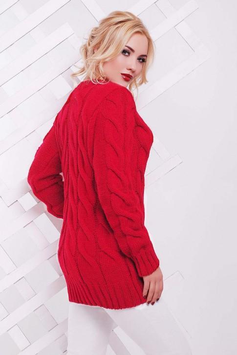 Женский красный свитер производства Украины - SVV0029 (фото 2)