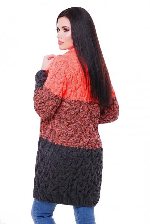 Модный двухцветный женский кардиган 52 размера (фото 2)