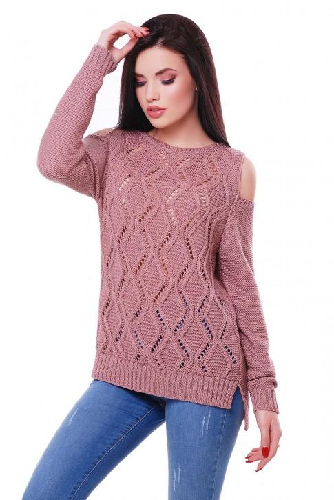 Легкий вязаный свитер цвет пастельная пудра, SVL0001