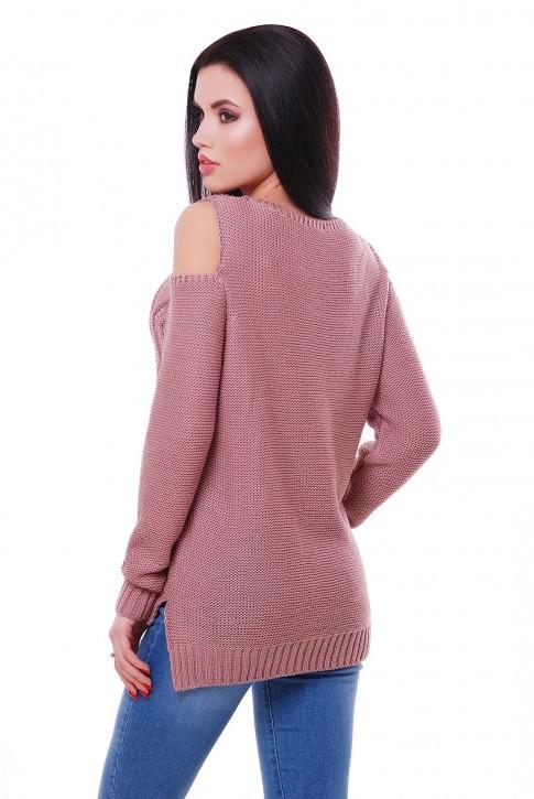 Легкий вязаный свитер цвет пастельная пудра, SVL0001 (фото 2)
