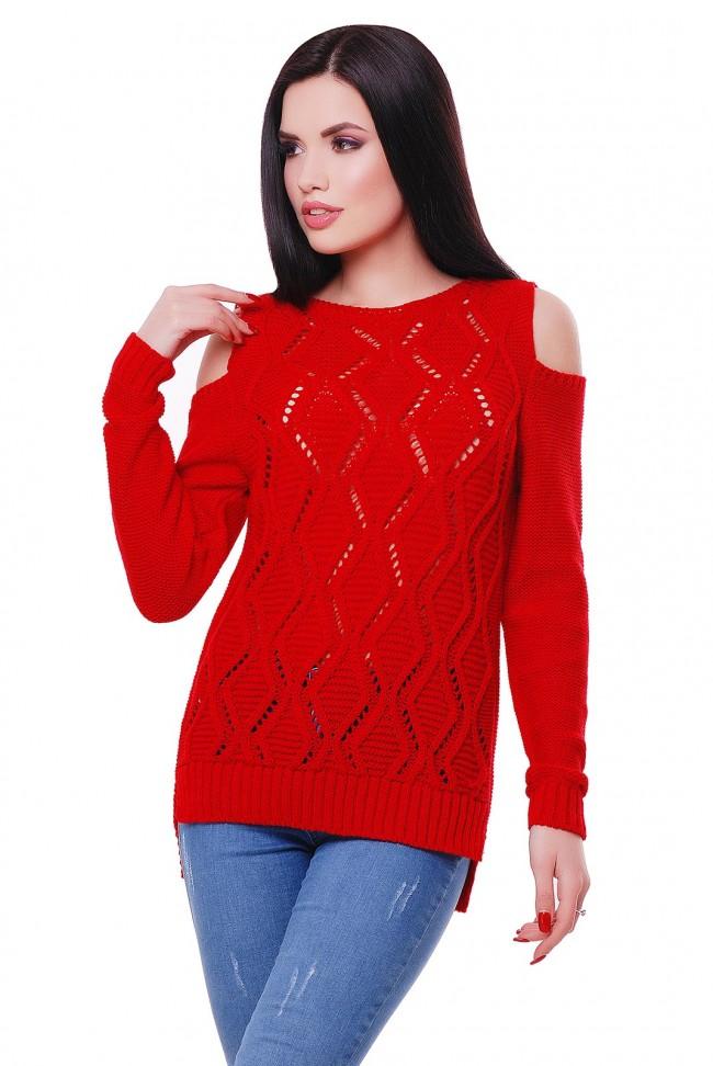Женский красный свитер с открытыми плечами, SVL0002
