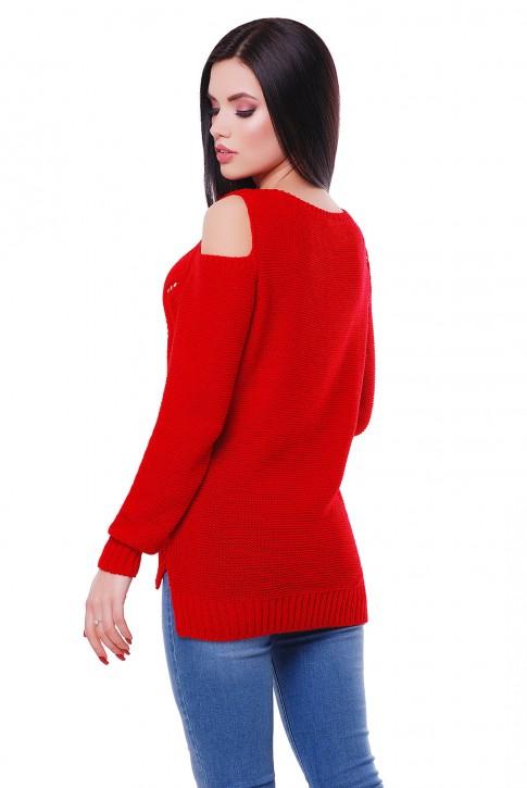 Женский красный свитер с открытыми плечами, SVL0002 (фото 2)