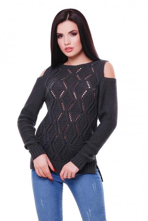 Женский свитер графитового цвета с прорезями на плечах