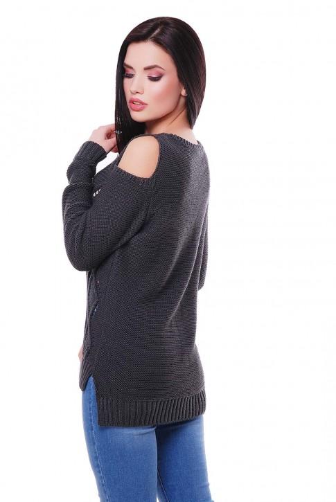 Женский свитер графитового цвета с прорезями на плечах (фото 2)