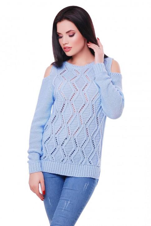 """Голубой вязаный свитер с прорезями на плечах """"LALA"""" SVL0006"""