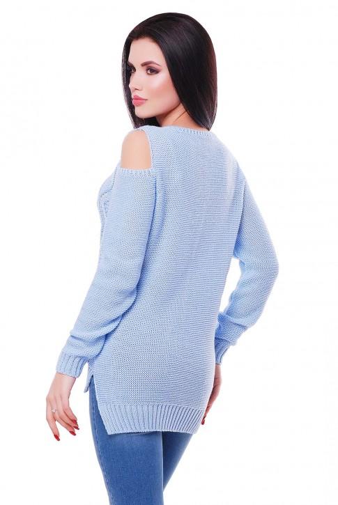"""Голубой вязаный свитер с прорезями на плечах """"LALA"""" SVL0006 (фото 2)"""