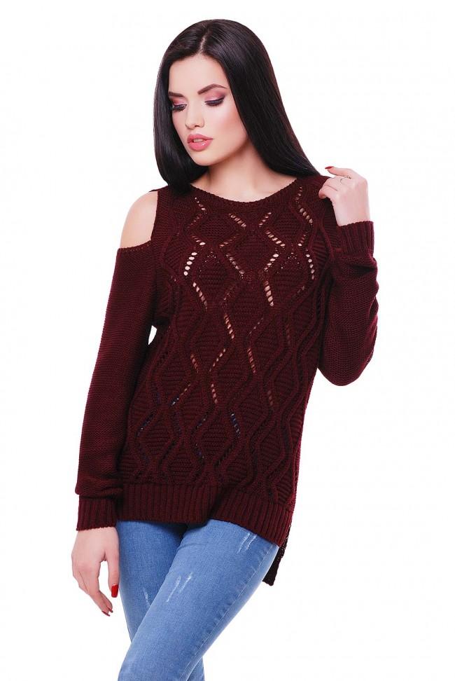 """Фото свитера цвета марсала с длинным рукавом """"LALA"""" SVL0007"""