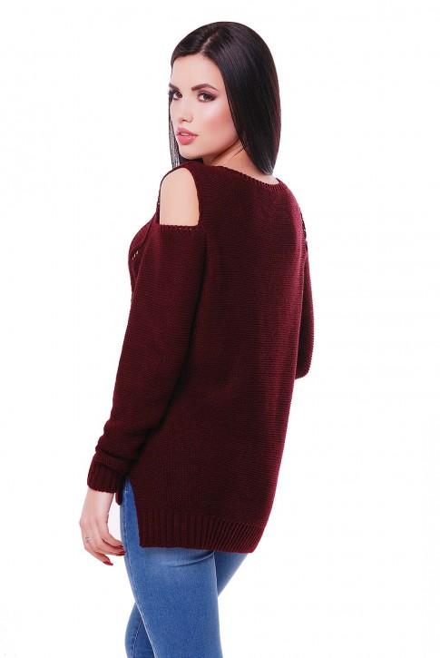 """Фото свитера цвета марсала с длинным рукавом """"LALA"""" SVL0007 (фото 2)"""