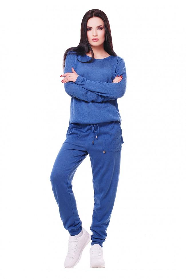 """Комбинезон """"COCO"""" с карманами вязаный - цвет джинс"""