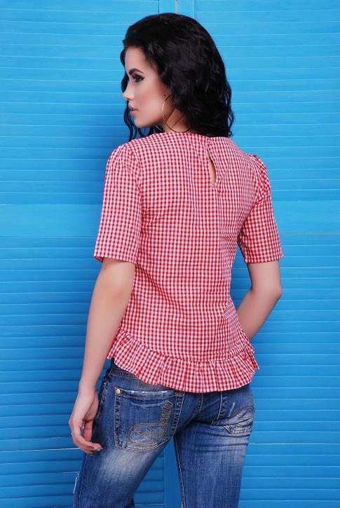 """Блузка """"Suzy"""" в мелкую красную клетку (фото 2)"""