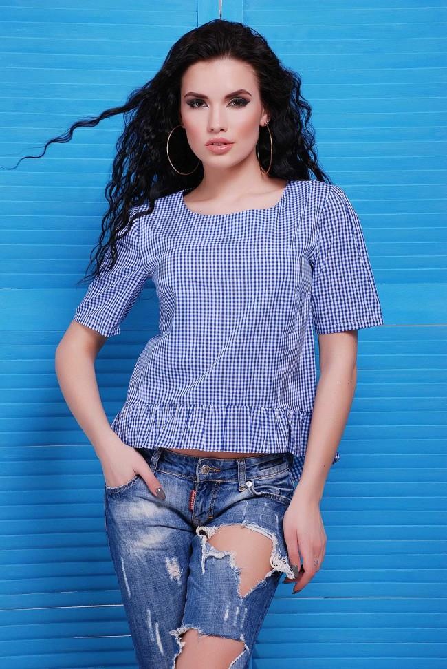 Летняя блузка в клеточку синего цвета