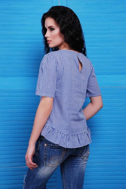Летняя блузка в клеточку синего цвета (фото 2)