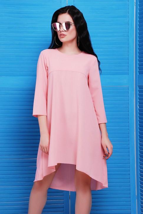Розовое платье со шлейфом из креп-шифона