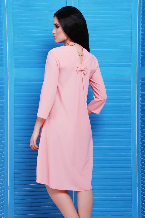 Розовое платье со шлейфом из креп-шифона (фото 2)