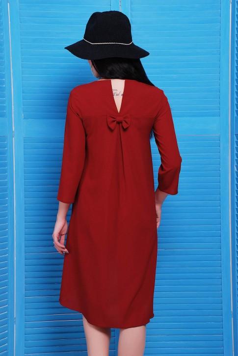 Шифоновое платье со шлейфом бордового цвета (фото 2)