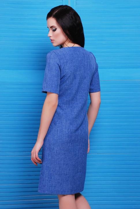 """Синее платья из льна с ремнем - """"Silvia"""" PL-1482A (фото 2)"""
