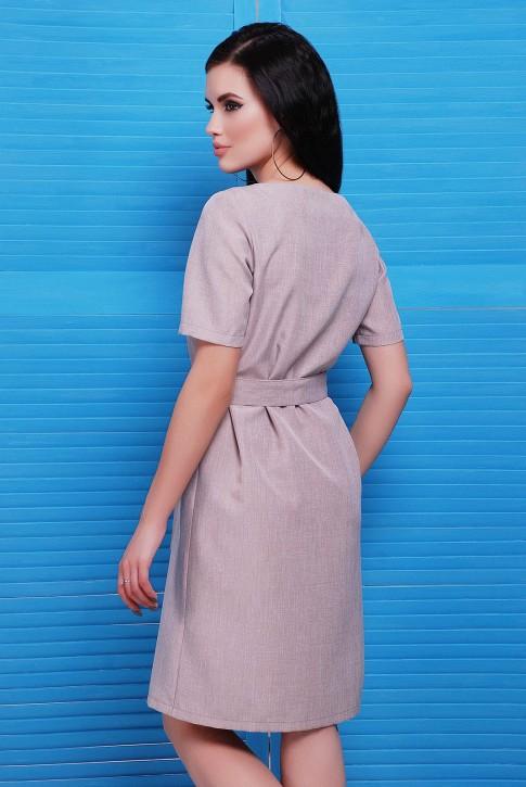 Бежевое платье с коротким рукавом из льна (фото 2)