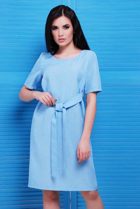 Модное повседневное платье из голубого льна
