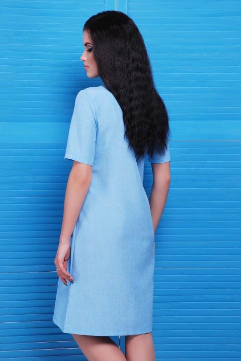 Модное повседневное платье из голубого льна  (фото 2)