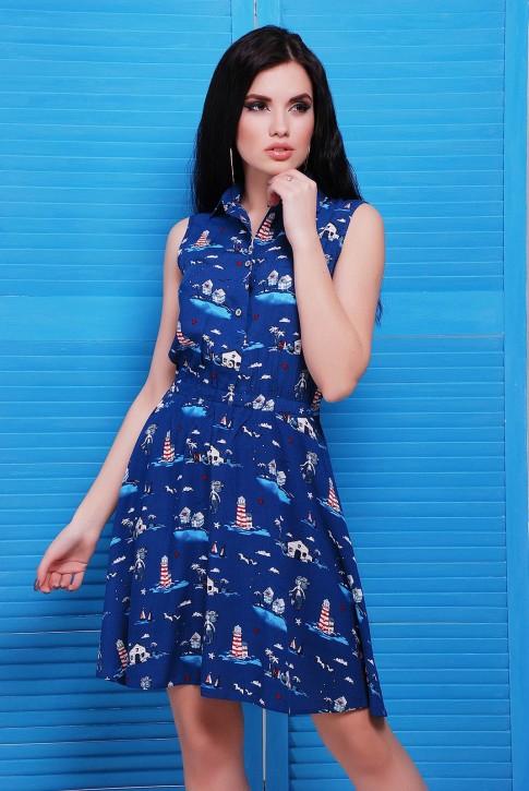 Синее платье на пуговицах с рубашечным воротником