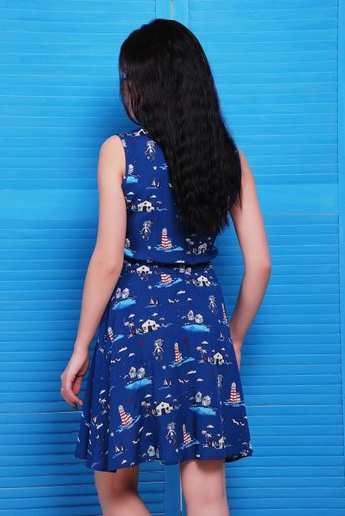Синее платье на пуговицах с рубашечным воротником (фото 2)