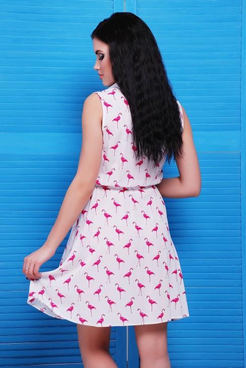 Белое платье с розовыми фламинго - PL-1480B (фото 2)