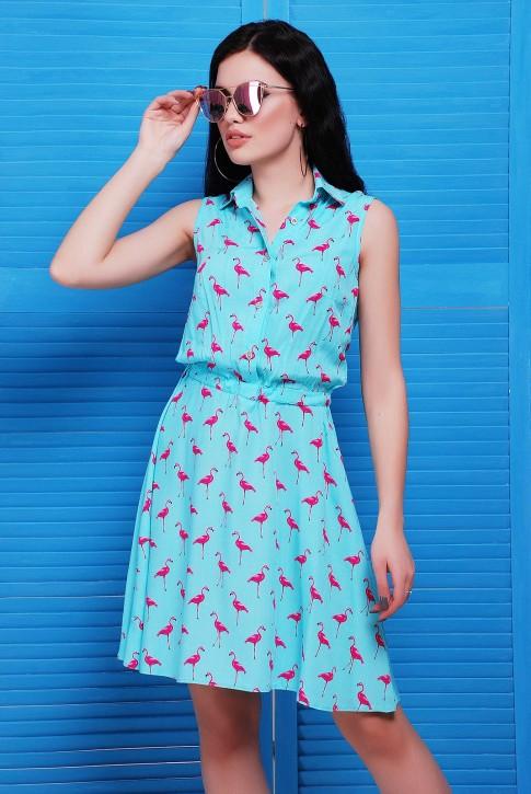 Ментоловое платье в розовых фламинго от производителя
