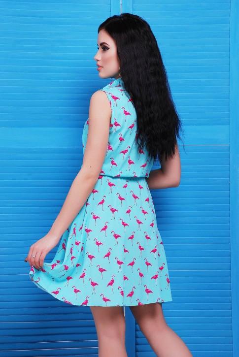 Ментоловое платье в розовых фламинго от производителя (фото 2)