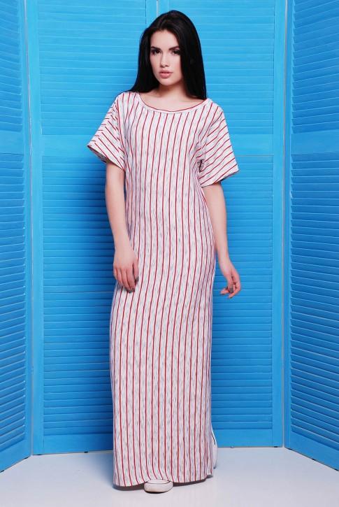 Длинное платье в тонкую красную полоску