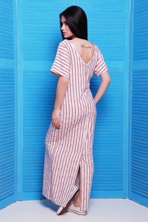 Длинное платье в тонкую красную полоску (фото 2)