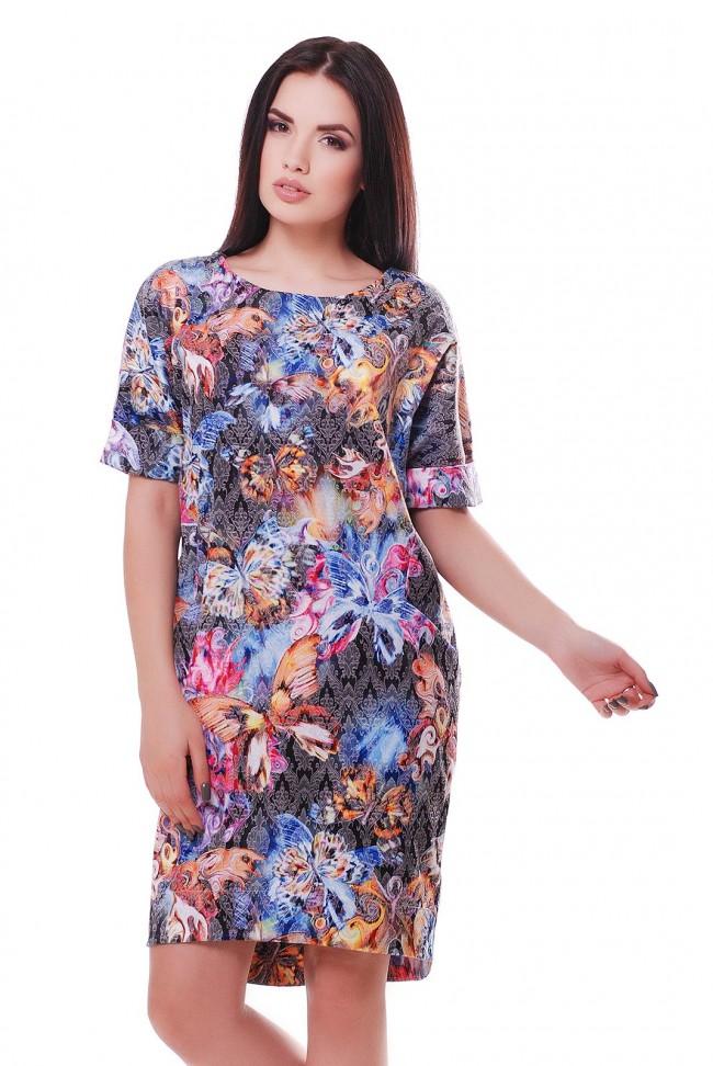 Позитивное женское платье в принт бабочки