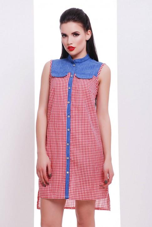 Платье-рубашка в красную клетку с удлиненным низом - PL-1476A