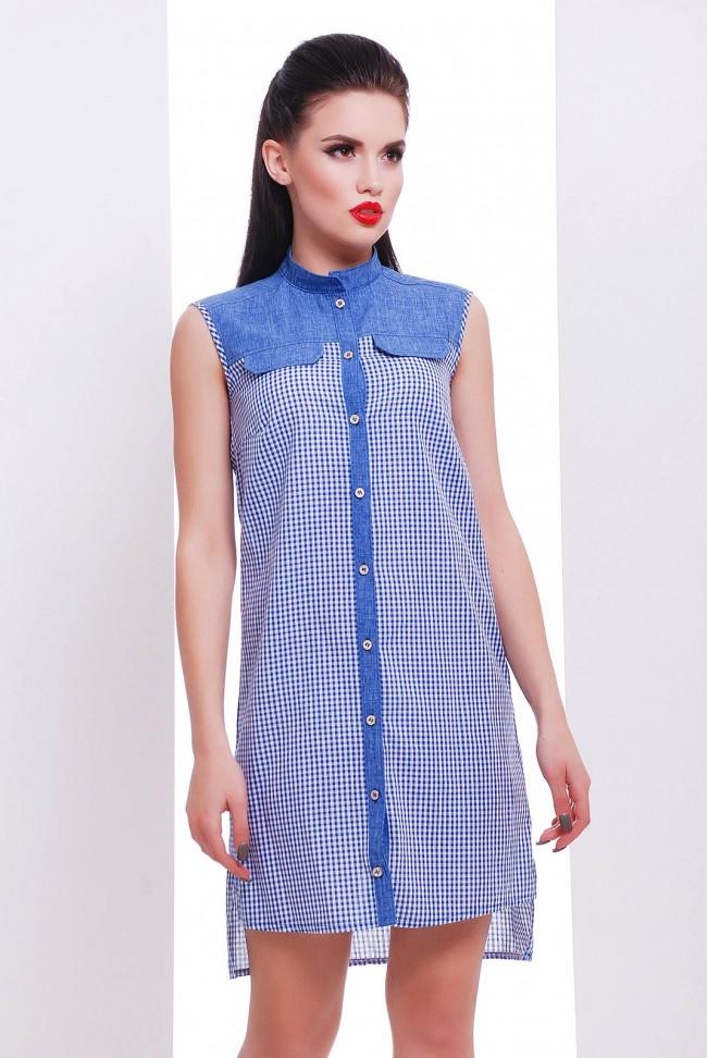Платье-рубашка на пуговицах в синюю клетку - PL-1476B