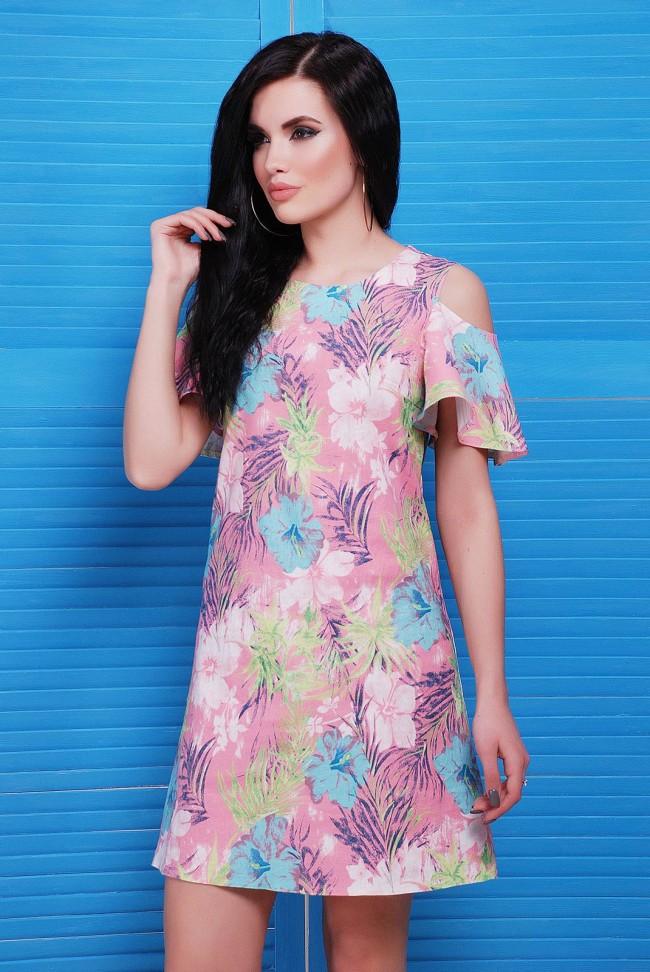 """Платье до колен с розовым цветочным принтом - """"Lime"""" PL-1481A"""