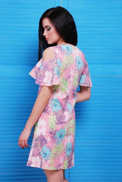"""Платье до колен с розовым цветочным принтом - """"Lime"""" PL-1481A (фото 2)"""