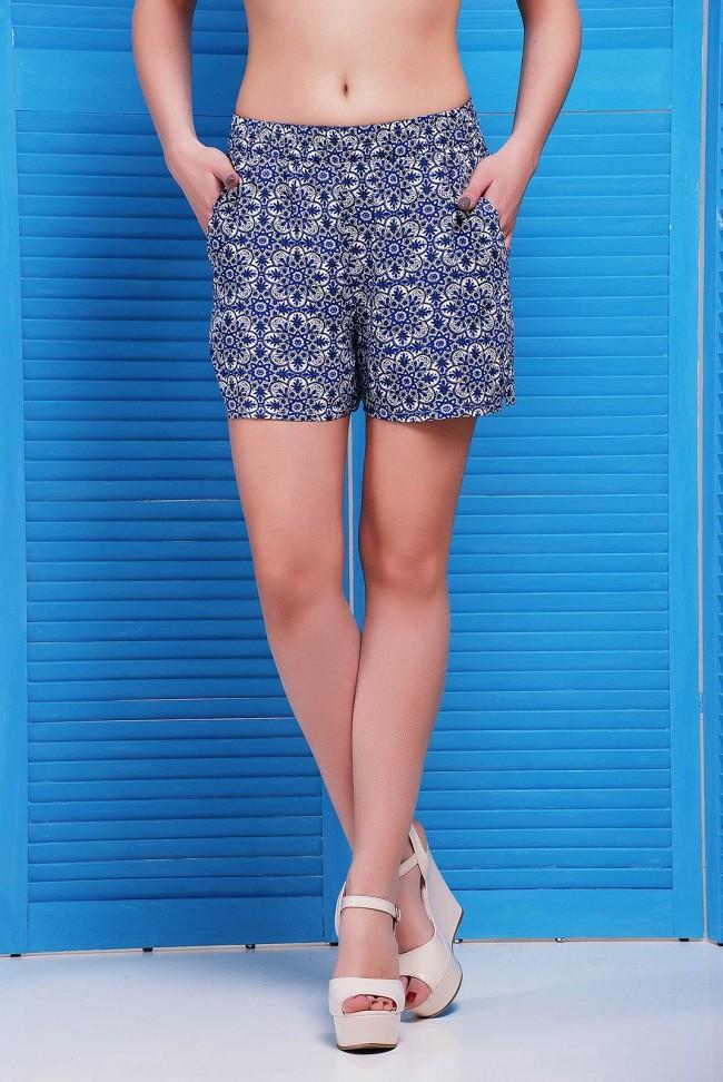 Женские шорты с синим орнаментом SH-1490A