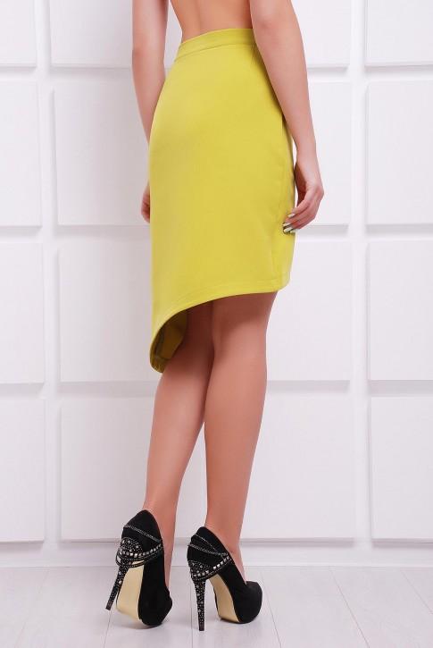 Юбка с асимметричным низом горчичного цвета (фото 2)