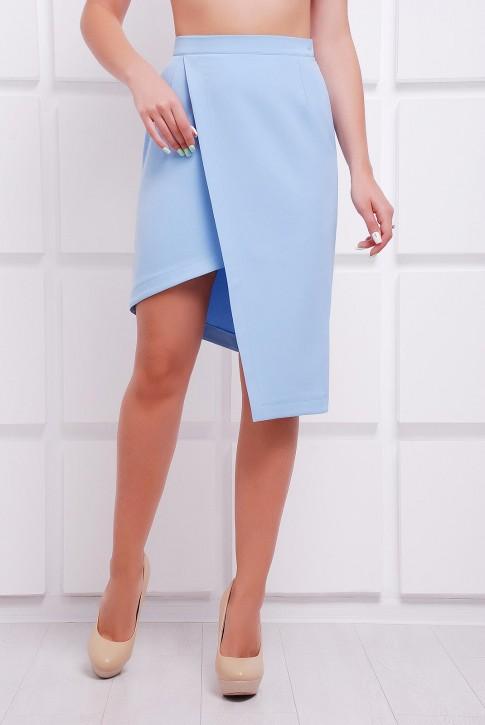 Женственная голубая юбка с запахом