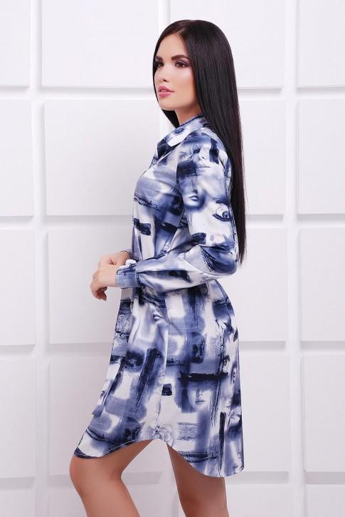 Платье-рубашка темно синий принт