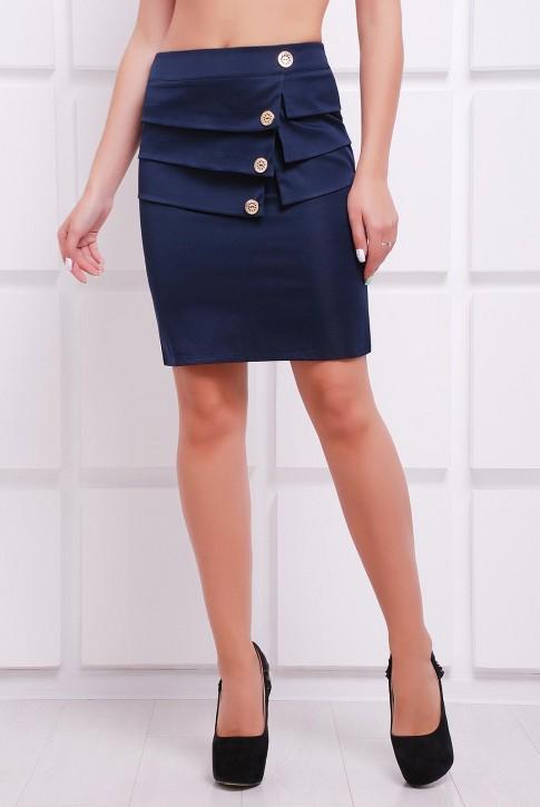 Многослойная темно-синяя юбка с пуговицами