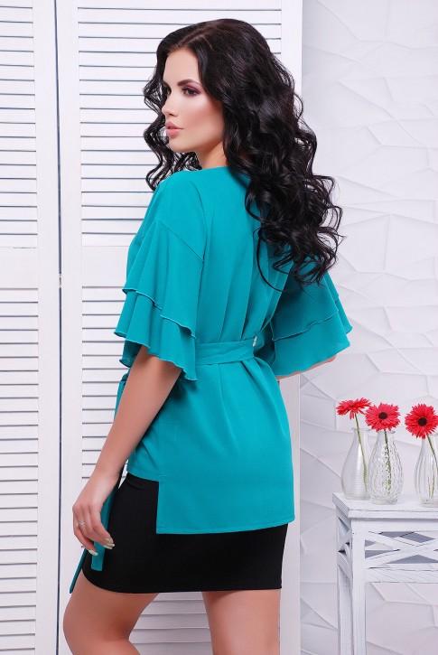 Шифоновая блуза, изумрудного цвета BZ-1530A | Распродажа (фото 2)
