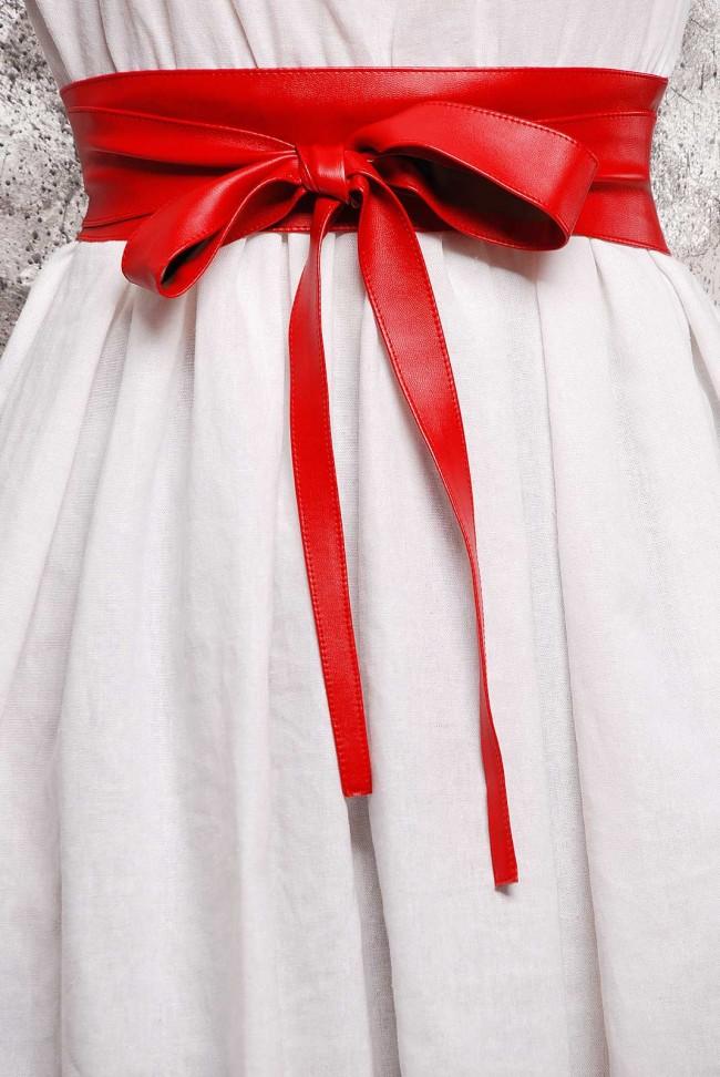 Пояс красного цвета из экокожи - PS-1312B