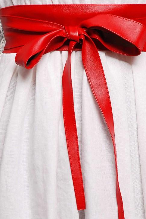 Пояс красного цвета из экокожи - PS-1312B (фото 2)