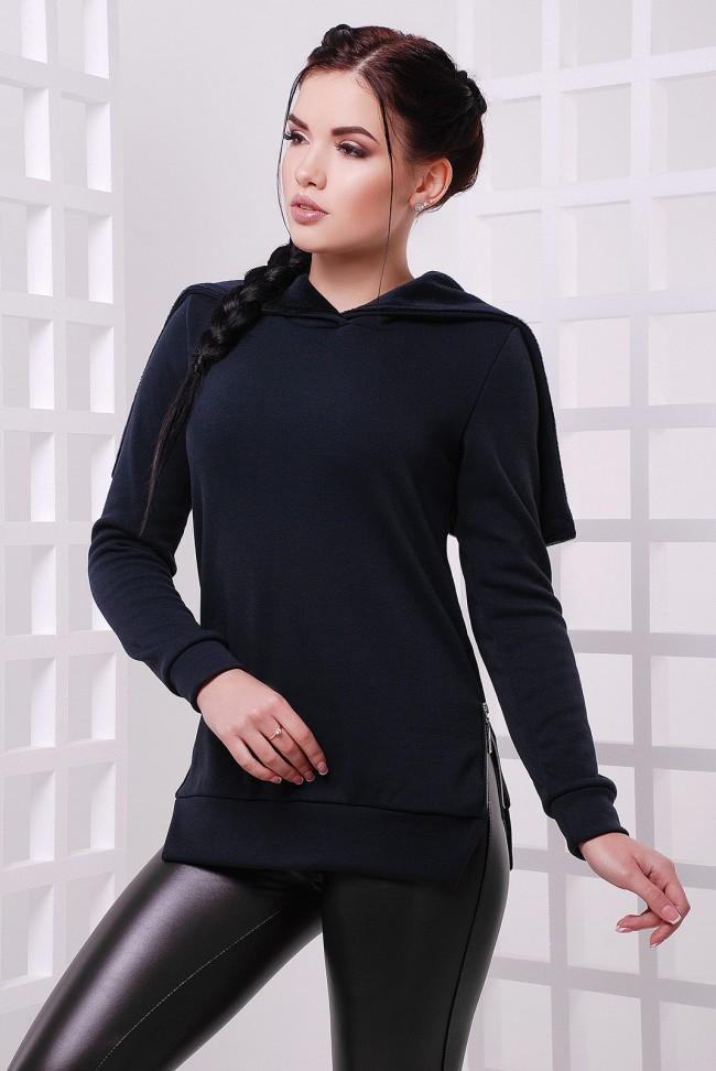 Женская кофта со змейкой на спине, темно-синяя KF-1561A
