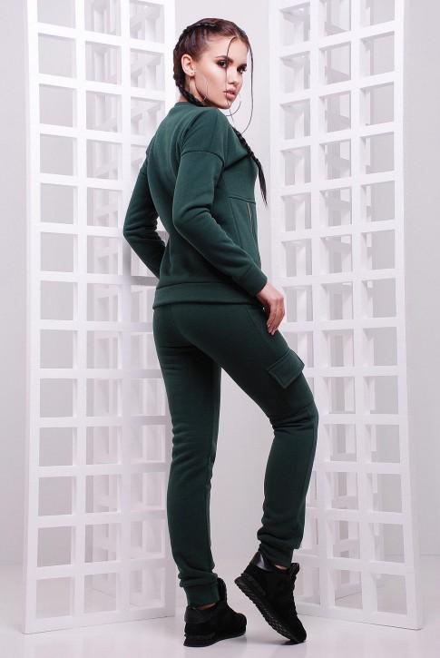 Спортивный женский костюм с боковыми змейками. Цвет: темно-зеленый (фото 2)